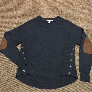 Autumn Cashmere Side Button Crew w/ Elbow Patch